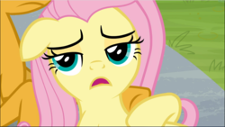 Size: 1670x942 | Tagged: 2 4 6 greaaat, cropped, floppy ears, fluttershy, lidded eyes, lying down, offscreen character, open mouth, safe, screencap, solo focus, spoiler:s09e15