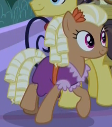 Size: 428x485 | Tagged: safe, screencap, bandana baldwin, high stakes, prairie belle, earth pony, pony, the summer sun setback, spoiler:s09e17, appleloosa resident, background pony, clothes, cropped, curls, curly hair, dress, female, flower, flower in hair, male, mare, night, ringlets, solo focus, stallion, walking