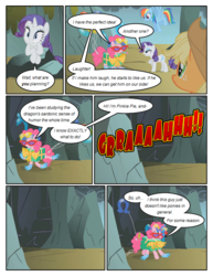 Size: 612x792 | Tagged: applejack, artist:newbiespud, balloon, cave, clothes, comic, comic:friendship is dragons, costume, dialogue, earth pony, female, flying, hat, horseshoes, mare, mountain, pinkie pie, pony, present, rainbow dash, rarity, roar, safe, sunglasses