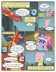 Size: 612x792 | Tagged: safe, artist:newbiespud, edit, edited screencap, screencap, applejack, fluttershy, pinkie pie, rainbow dash, rarity, twilight sparkle, dragon, earth pony, pegasus, pony, unicorn, comic:friendship is dragons, dragonshy, cliff, comic, dialogue, exclamation point, female, hat, hug, interrobang, looking down, looking up, male, mane six, mare, question mark, scared, screencap comic, slit eyes, unicorn twilight