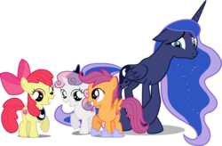 Size: 5975x3910 | Tagged: accessory-less edit, accessory swap, alicorn, apple bloom, artist:emper24, artist:fallingcomets, artist:loaded--dice, artist:myrami, barehoof, bow, crossed hooves, crossed legs, crown, cutie mark, cutie mark crusaders, earth pony, edit, edited edit, editor:slayerbvc, embarrassed, female, filly, floppy ears, frown, grin, hair bow, hoof shoes, jewelry, looking at you, luna's crown, mare, pegasus, peytral, princess luna, raised hoof, regalia, safe, scootaloo, simple background, smiling, sweetie belle, the cmc's cutie marks, transparent background, unicorn, vector, vector edit