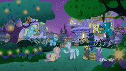 Size: 1920x1080 | Tagged: barrel, buddy, canterlot, compass star, feather flatterfly, female, fluttershy, flying, lifting, male, mare, night, parasol, pegasus, pony, rainbow dash, safe, sassaflash, screencap, silver script, spoiler:s09e17, stallion, stormfeather, the summer sun setback, tree