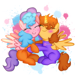Size: 4585x4585 | Tagged: safe, artist:doraeartdreams-aspy, oc, oc only, oc:aspen, oc:bella pinksavage, alicorn, pony, alicorn oc, bodysuit, catsuit, cuddling, cute, eyes closed, female, friendship, hippie, hug, jewelry, latex, latex suit, necklace, peace suit, peace symbol, rubber suit, siblings, sisterly love, sisters, smiling, snuggling