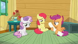 Size: 1280x720 | Tagged: accessory-less edit, apple bloom, clubhouse, crusaders clubhouse, cutie mark, cutie mark crusaders, depressed, earth pony, edit, edited screencap, editor:slayerbvc, female, filly, missing accessory, pegasus, sad, safe, scootaloo, screencap, sitting, sweetie belle, the cmc's cutie marks, the fault in our cutie marks, unicorn
