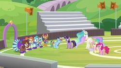 Size: 1920x1080 | Tagged: safe, screencap, fluttershy, lighthoof, ocellus, pinkie pie, princess celestia, rainbow dash, shimmy shake, smolder, twilight sparkle, yona, alicorn, changedling, changeling, dragon, pony, yak, 2 4 6 greaaat, cap, cheerleader ocellus, cheerleader outfit, cheerleader smolder, cheerleader yona, clothes, hat, twilight sparkle (alicorn)