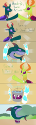 Size: 2800x9600 | Tagged: artist:mightyshockwave, bucket of water, changedling, changedling brothers, changeling, comic, king thorax, pharynx, prince pharynx, safe, shark, thorax, wonder twins