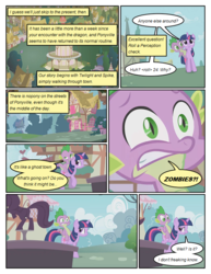 Size: 612x792 | Tagged: safe, artist:newbiespud, edit, edited screencap, screencap, spike, twilight sparkle, dragon, pony, unicorn, comic:friendship is dragons, bridle gossip, building, comic, dialogue, exclamation point, female, interrobang, male, mare, question mark, riding, screencap comic, unicorn twilight, worried