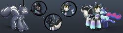 Size: 4096x1126   Tagged: safe, artist:helixjack, oc, oc:mew, pony, unicorn, bondage, clothes, comic, encasement, eyes closed, female, furry, gradient background, heart, latex, latex socks, latex suit, mare, rubber, snuggling, socks, unshorn fetlocks, wide eyes