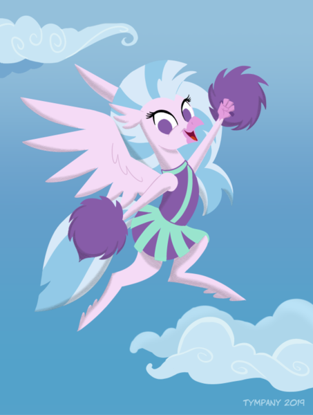 Size: 580x768 | Tagged: safe, artist:tim-kangaroo, silverstream, hippogriff, pony, 2 4 6 greaaat, spoiler:s09e15, cheering, cheerleader, cheerleader silverstream, clothes, cloud, cute, diastreamies, featured image, female, flying, in the air, looking at you, no pupils, pointy ponies, pom pom, simple background, skirt, sky background, smiling, solo, spread wings, wide eyes, wings
