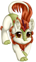 Size: 1541x2605 | Tagged: artist:gleamydreams, autumn blaze, awwtumn blaze, cloven hooves, cute, female, golden eyes, kirin, looking at you, mare, safe, smiling, solo, sounds of silence