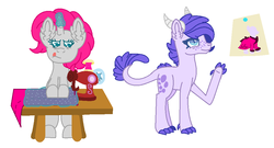 Size: 1004x542 | Tagged: artist:1313jaysong1313, dracony, drawing, duo, duo female, female, half-siblings, hybrid, interdimensional siblings, interspecies offspring, magic, magic aura, oc, oc:crystal clarity, oc:platinum royale, offspring, parent:rarity, parents:canon x oc, parent:spike, parents:sparity, pinned, safe, sewing, sewing machine, simple background, spindle, unicorn, white background