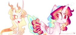 Size: 1024x475 | Tagged: alicorn, artist:flora-glassyt, changepony, female, hybrid, magical lesbian spawn, mare, oc, oc:galaxy light, oc only, oc:sunny moonlight, offspring, parent:princess celestia, parent:rainbow dash, parents:thoralestia, parents:twidash, parent:thorax, parent:twilight sparkle, pony, safe, simple background, transparent background