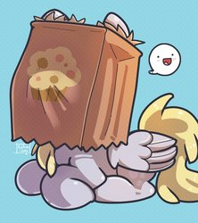 Size: 2000x2250 | Tagged: safe, artist:talimingi, derpy hooves, pegasus, pony, cute, derpabetes, derpy being derpy, female, food, muffin, paper bag, pictogram, smiling, solo, speech bubble