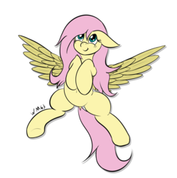 Size: 2259x2266 | Tagged: artist:wapamario63, cute, dock, female, fluttershy, mare, on back, pegasus, pony, safe, shyabetes, solo, spread wings, wings
