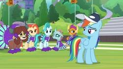 Size: 1920x1080   Tagged: safe, screencap, lighthoof, ocellus, rainbow dash, shimmy shake, smolder, yona, changedling, changeling, dragon, pony, yak, 2 4 6 greaaat, cap, cheerleader ocellus, cheerleader outfit, cheerleader smolder, cheerleader yona, clothes, cute, diaocelles, hat, lightorable, shakeabetes, smolderbetes, yonadorable