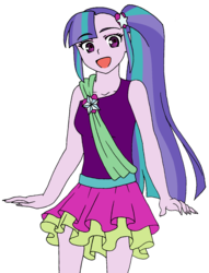 Size: 1253x1638 | Tagged: safe, artist:fantasygerard2000, oc, oc:harmony spark, equestria girls, fanchild, female, looking at you, magical lesbian spawn, offspring, open mouth, parent:aria blaze, parent:sonata dusk, parents:arisona, simple background, sitting, solo, white background