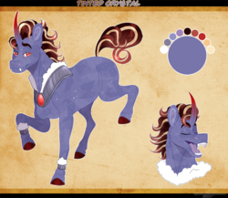 Size: 980x849 | Tagged: artist:bijutsuyoukai, male, oc, oc:tinted crystal, offspring, parent:amber laurel, parent:king sombra, pony, reference sheet, safe, solo, stallion, unicorn