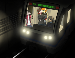 Size: 2372x1828 | Tagged: safe, artist:subway777, oc, oc:rave muller, oc:vincher, pegasus, unicorn, anthro, cyrillic, metro, moscow, moscow metro, russian, subway, train