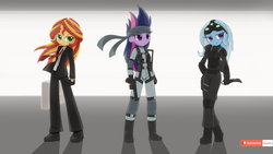 Size: 1920x1080 | Tagged: agent 47, artist:howxu, business suit, clothes, equestria girls, eyepatch, female, future twilight, gloves, hitman, metal gear solid, safe, sam fisher, solid snake, solid sparkle, splinter cell, suit, sunset shimmer, trixie, twilight sparkle