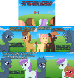 Size: 2300x2404 | Tagged: artist:ladyanidraws, ask, ask pun, blushing, comic, earth pony, female, male, mare, oc, oc:marigold, oc:melony, oc:pun, oc:rubik, oc:sunshine morning, pony, safe, stallion, star hunter