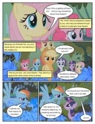Size: 612x792 | Tagged: apple bloom, applejack, artist:newbiespud, bow, bridle gossip, comic, comic:friendship is dragons, dialogue, edit, edited screencap, female, filly, flower, fluttershy, flying, hair bow, hat, implied zecora, mane six, mare, pinkie pie, poison joke, ponies riding ponies, pony, rainbow dash, rarity, safe, screencap, screencap comic, twilight sparkle, unicorn, unicorn twilight
