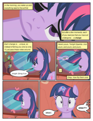 Size: 612x792 | Tagged: safe, artist:newbiespud, edit, edited screencap, screencap, twilight sparkle, pony, unicorn, comic:friendship is dragons, bridle gossip, ..., comic, dialogue, exclamation point, female, floppy horn, glowing horn, horn, interrobang, magic, mare, messy mane, mirror, offscreen character, poison joke, question mark, reflection, screencap comic, shocked, telekinesis, tired, unicorn twilight