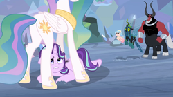 Size: 1920x1080   Tagged: safe, screencap, cozy glow, lord tirek, princess celestia, queen chrysalis, starlight glimmer, alicorn, centaur, changeling, changeling queen, pegasus, pony, unicorn, the ending of the end, spoiler:s09e24, spoiler:s09e25, bow, butt, cloven hooves, colored hooves, cozycorn, female, filly, flying, hair bow, losers club, male, mare, nose piercing, nose ring, piercing, plot, race swap, ultimate chrysalis