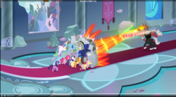 Size: 1727x951   Tagged: safe, screencap, applejack, cozy glow, discord, fluttershy, lord tirek, pinkie pie, princess celestia, princess luna, queen chrysalis, rainbow dash, rarity, spike, twilight sparkle, alicorn, centaur, changeling, changeling queen, draconequus, dragon, earth pony, pegasus, pony, unicorn, the ending of the end, leak, spoiler:s09e24, spoiler:s09e25, bewitching bell, blast, bow, canterlot, canterlot castle, cloven hooves, colored hooves, cowboy hat, cozycorn, female, fighting back, filly, flying, grogar's bell, hair bow, hat, losers club, magic, magic blast, male, mane seven, mane six, mare, nose piercing, nose ring, piercing, race swap, throne room, twilight sparkle (alicorn), wall of tags, winged spike