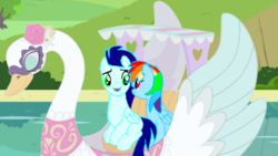 Size: 1276x720 | Tagged: artist:mlplary6, female, male, rainbow dash, safe, shipping, soarin', soarindash, straight, swan