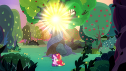 Size: 1920x1080 | Tagged: apple tree, big macintosh, earth pony, female, intertwined trees, male, mare, pear tree, pony, safe, screencap, shipping, spoiler:s09e23, stallion, straight, sugar belle, sugarmac, the big mac question, tree, unicorn