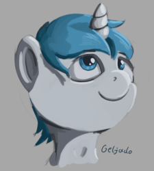 Size: 1406x1560 | Tagged: artist:geljado, bust, digital art, male, oc, oc:geljado, pony, safe, simple background, unicorn