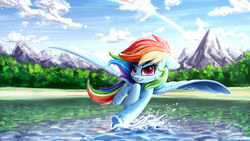 Size: 4098x2304 | Tagged: safe, artist:rysunkowasucharia, rainbow dash, pegasus, pony, 16:9, beach, beautiful, cloud, cute, dashabetes, featured image, female, floppy ears, flying, high res, looking at you, mare, mountain, outdoors, plant, rainbow, scenery, scenery porn, skimming, sky, smiling, smirk, solo, splashing, spread wings, sweet dreams fuel, thick eyebrows, wallpaper, water, wings
