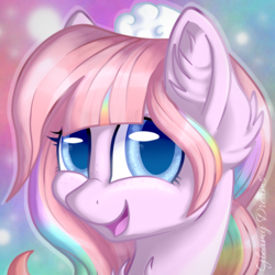 Size: 1717x1717 | Tagged: artist:gleamydreams, blue eyes, bust, derpibooru exclusive, female, hat, icon, looking at you, mare, oc, pink hair, rainbow hair, safe, smiling, solo