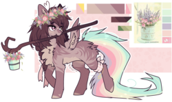 Size: 1982x1178 | Tagged: artist:tenebristayga, butt fluff, chest fluff, color palette, ear fluff, female, flower, oc, pegasus, pony, rainbow tail, safe, solo, stick, unnamed oc, wing fluff