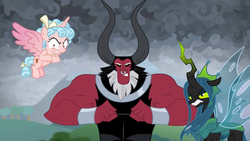 Size: 1920x1080 | Tagged: safe, screencap, cozy glow, lord tirek, queen chrysalis, alicorn, the ending of the end, leak, spoiler:s09e24, spoiler:s09e25, alicornified, cozy glow is best facemaker, cozycorn, crazy glow, crazycorn, insanity, race swap, trio, ultimate chrysalis