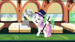 Size: 1920x1080 | Tagged: being big is all it takes, caesar, cane, count caesar, cutie mark, growing up is hard to do, hat, lidded eyes, older, older sweetie belle, safe, screencap, spoiler:s09e22, sweetie belle, the cmc's cutie marks, top hat