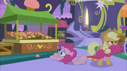 Size: 1366x768 | Tagged: safe, screencap, applejack, pinkie pie, earth pony, pony, the summer sun setback, spoiler:s09e17, crate, cupcake, dessert, dragging, food, food stand, heart, mouth hold, pulling, stairs, unamused, vendor stall