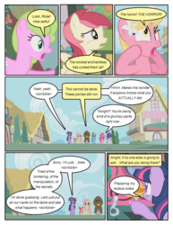 Size: 612x792 | Tagged: safe, artist:newbiespud, edit, edited screencap, screencap, apple bloom, daisy, flower wishes, fluttershy, lily, lily valley, pinkie pie, rainbow dash, rarity, roseluck, twilight sparkle, zecora, earth pony, pegasus, pony, unicorn, zebra, comic:friendship is dragons, bridle gossip, cloak, clothes, comic, dialogue, ear piercing, earring, female, filly, flower, flower in hair, flower trio, jewelry, mare, neck rings, piercing, screencap comic, shocked, the horror, unicorn twilight