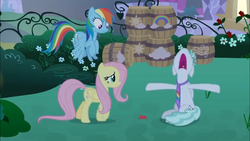 Size: 1366x768 | Tagged: barrel, barrels, bush, card, feather flatterfly, fluttershy, necktie, panic, panicking, rainbow dash, safe, screencap, spoiler:s09e17, the summer sun setback