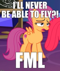 Size: 720x856 | Tagged: safe, edit, edited screencap, screencap, apple bloom, scootaloo, growing up is hard to do, caption, cropped, cutie mark, fml, image macro, older, older apple bloom, older scootaloo, sad but true, scootaloo can't fly, scootaloo will never fly, scootasad, solo focus, text, the cmc's cutie marks