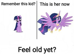 Size: 573x420 | Tagged: safe, artist:digimonlover101, edit, twilight sparkle, alicorn, pony, unicorn, the last problem, adult, cute, ethereal mane, feel old yet?, feeling old yet?, female, mare, meme, older, older twilight, open mouth, princess twilight 2.0, simple background, spread wings, text edit, twilight sparkle (alicorn), unicorn twilight, white background, wings