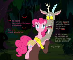 Size: 2536x2080 | Tagged: safe, discord, pinkie pie, afraid of the dark, comforting, comic, comic dub, crying, dark forest, discopie, eyes in the dark, female, forest, frightened, glowing eyes, male, red eyes, scared, scary, shipping, spooky, straight, voice actor