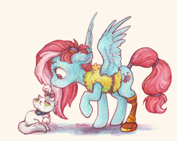 Size: 1925x1532 | Tagged: safe, artist:jewellier, kerfuffle, opalescence, cat, pegasus, pony, rainbow roadtrip, amputee, clothes, duo, female, mare, prosthetic leg, prosthetic limb, prosthetics, raised hoof, spread wings, traditional art, vest, wings