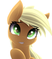 Size: 806x915 | Tagged: safe, artist:posionjoke, edit, applejack, earth pony, pony, adorable face, cute, explicit source, eye clipping through hair, female, freckles, jackabetes, looking at you, mare, simple background, smiling, solo, transparent background