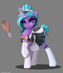 Size: 2600x3000 | Tagged: artist:skitsniga, clothes, cute, duster, female, gray background, high res, levitation, magic, maid, mare, oc, oc:eleane tih, oc only, pony, safe, simple background, skirt, smiling, socks, solo, stockings, telekinesis, thigh highs, unicorn