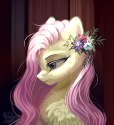 Size: 4090x4512 | Tagged: safe, artist:teaflower300, fluttershy, pegasus, pony, abstract background, bust, chest fluff, female, flower, flower in hair, lidded eyes, looking down, mare, portrait, profile, solo