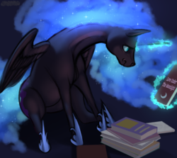 Size: 1346x1200 | Tagged: alicorn, artist:mercurial64, book, female, glowing horn, horn, magic, mare, nightmare moon, pony, safe, sitting, solo, telekinesis