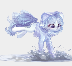 Size: 2171x2000 | Tagged: artist:graypillow, earth pony, female, mare, oc, oc only, pony, raincoat, safe, solo, splashing