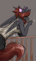 Size: 3500x6000 | Tagged: anthro, artist:loki-bagel, cigarette, clothes, female, leaning, oc, oc:bwae, pants, safe, simple background, smoking, solo, tanktop