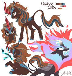 Size: 850x900 | Tagged: safe, artist:creeate97, oc, oc only, oc:umber oaks, kirin, nirik, amputee, cloven hooves, colored hooves, kirin oc, simple background, white background